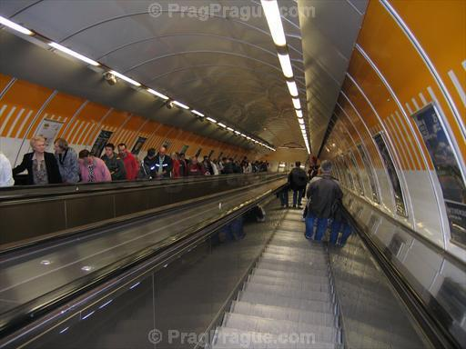 Long Escalator in Prague Kobylisy Metro Station