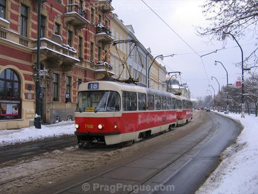 Prague Tram at Smetanovo Nabrezi in Winter
